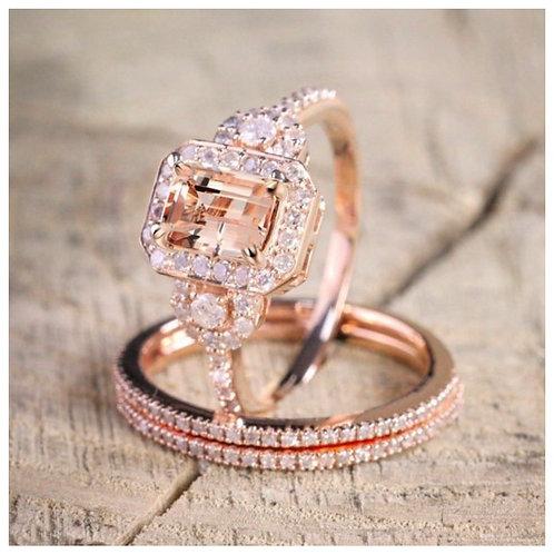 Rose Gold Micro-Inlaid Square Diamond Ring Set