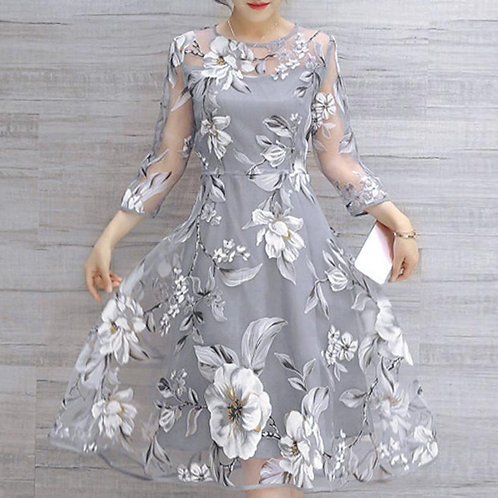 Women Dress Fashion Organza Floral Party Dress Gown Dress Ladies Clothes