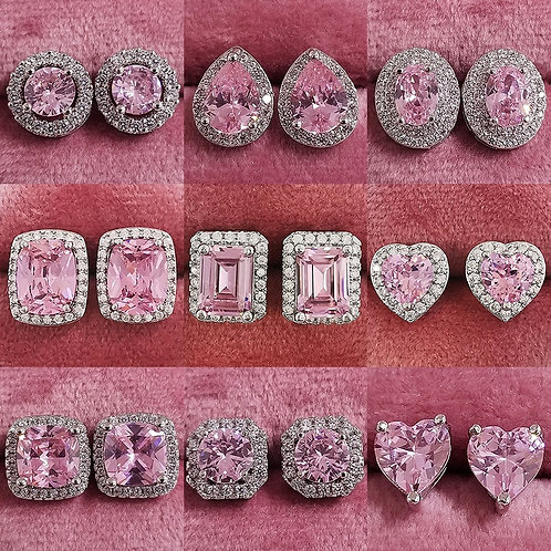 925 Sterling Silver Zircon Stud Pink for Girl Party Gift Jewelry Z7