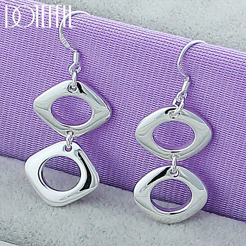 925 Sterling Silver Square Round Geometry Drop for Party Charm Jewelry