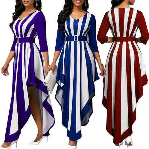 2021 New Stripe Dress 5XL Caftan  Fashion Plus Size Clothing