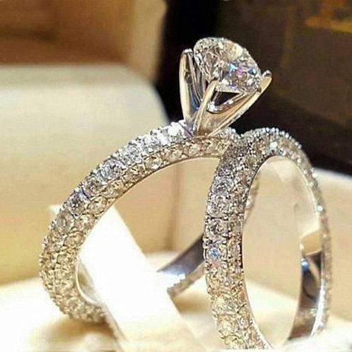 Women's Artificial Full Diamond Round Zircon Ring Set