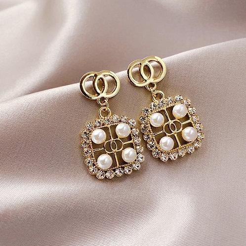 Earrings for Women Party 925 Silver Diamond Letter Design Big Round Earring