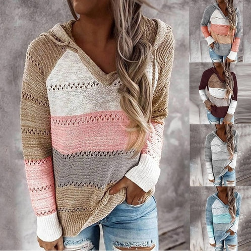 Women v Neck Hooded Sweater Patchwork Knitted Sweater Elegant Striped Long