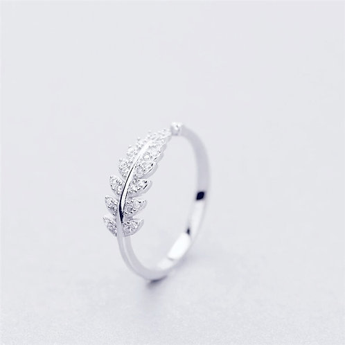 925 Sterling Silver Fresh Sweet Branch Leaf Personality  Opening Rings SRI025