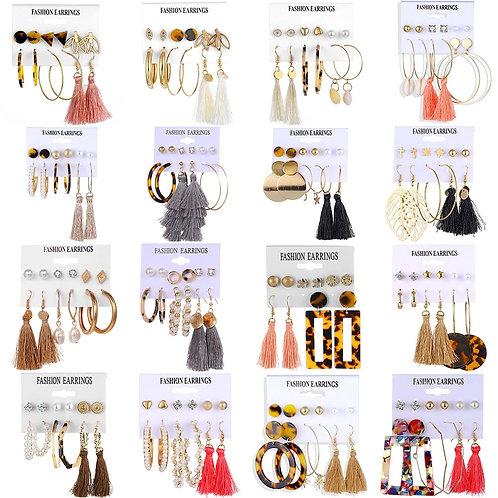 32 Styles Trendy Earrings Acrylic Faux Pearl Circle Tassel Earings 6-pieces