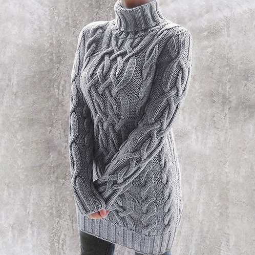 Gray Oversized Turtleneck Sweater Dress Women Warm Autumn and Winter Clothes