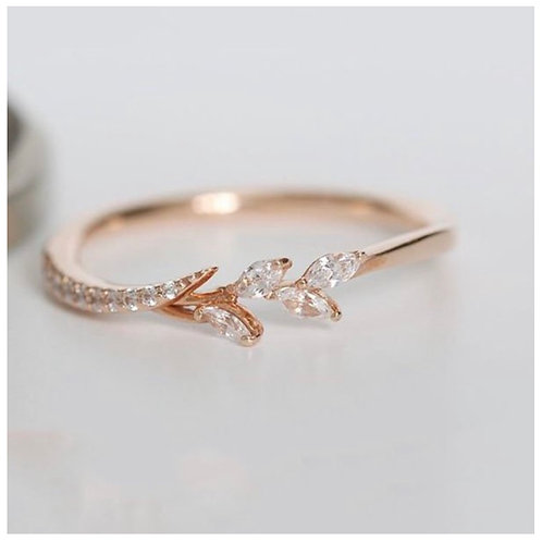Rose Gold Eternity Filigree Leaf Band Ring