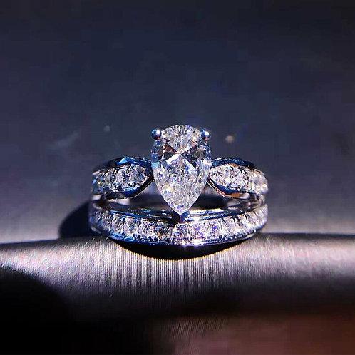 Sparkling Waterdrop Cubic Zircon Wedding Rings Set 2pcs