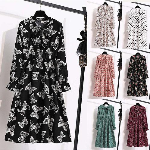 Women Slim Chiffon Long Sleeve  Stand Collar Dress Party Dress Vestido De Mujer