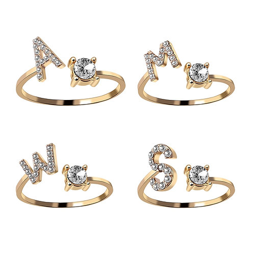 A-Z Letter Opening Ring Initials Name Alphabet Female Creative Finger