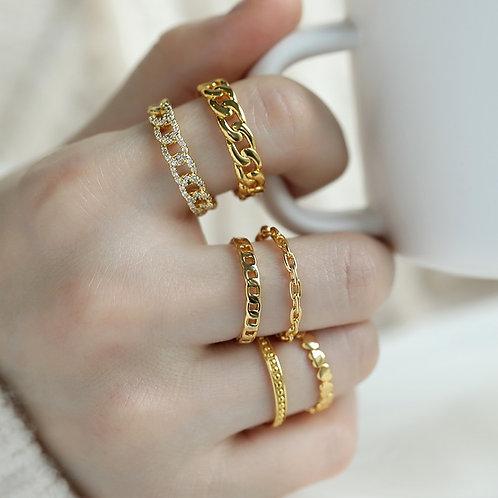 Chain Ring Women Adjustable Stainless Steel Vintage Minimalist Jewelry