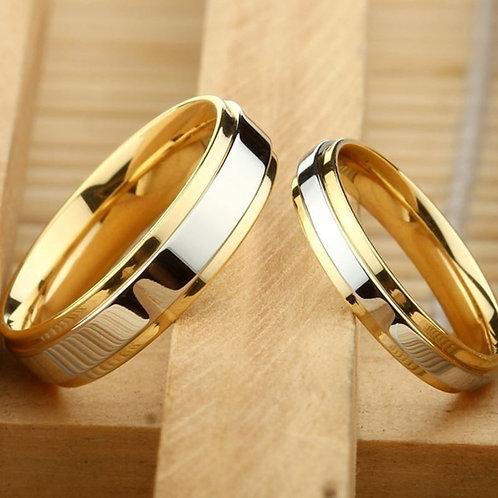 New  Simple Design 316  Steel Alliance Gold Wedding Band Rings Set for Women Men