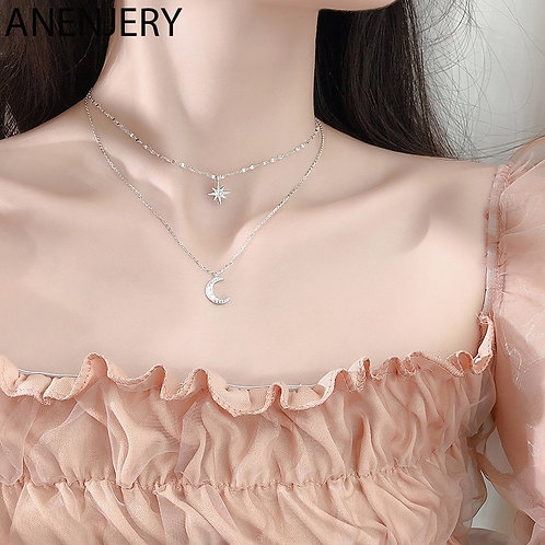 925 Sterling Silver Double Layer Star Moon Clavicle Chain  Necklace for Women
