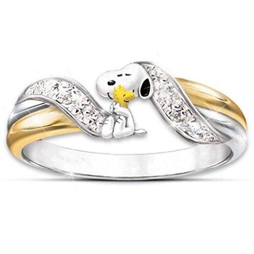 Women's Cartoon Snoopy Cartoon Dog Gold-Plated Two-Color Ring
