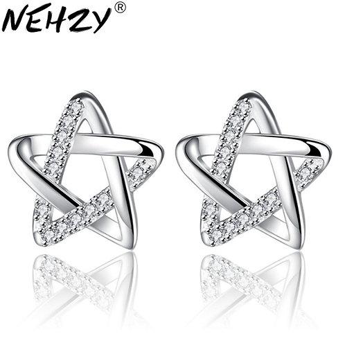 Brand Stud Earrings Luxury Five-Pointed Star Ear Ear Female Silver Earrings 10mm