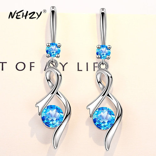 925 Sterling Silver High Quality Crystal Zircon Heart Shaped Hollow Earrings