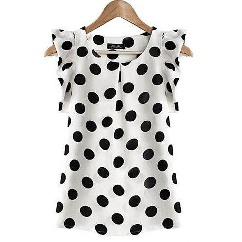 Chiffon White Blouse Ladies Puffed Short Sleeve Black Dot Print Top