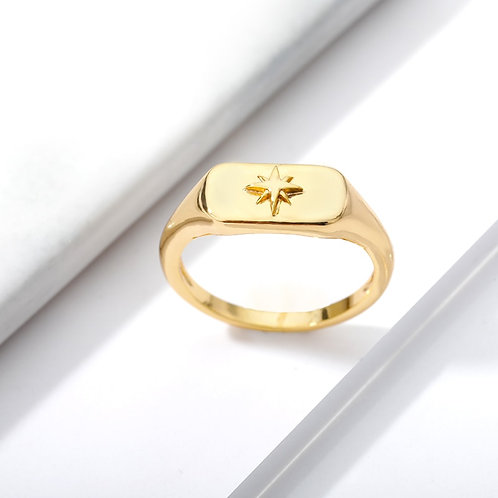 Rings Trendy Finger Gold Color Geometry Square Ring Party Gift Bijoux Femme