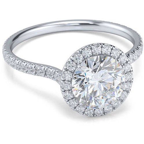 18k White Gold-Tone Cubic Zirconia Halo-Cut Engagement Ring