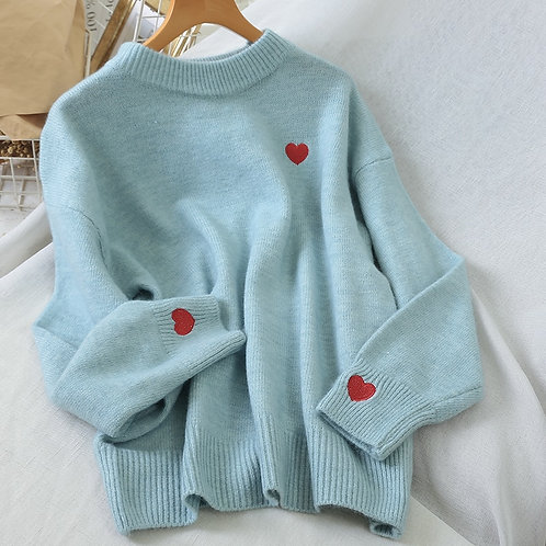 O-Neck Knitted Winter Clothes Women Shirt Oversized Sweater Top  Embroidery