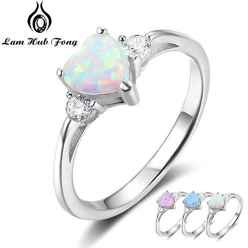Classic Eternal Heart 925 Sterling Silver Rings Opal Ring