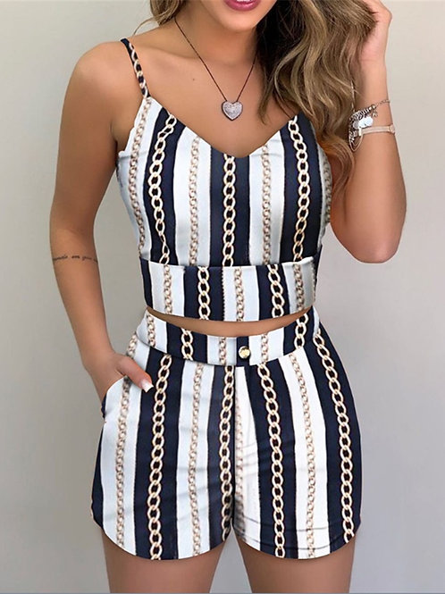 2-Piece Outfit Set Sleeveless Print Top and Shorts Set for Ladies