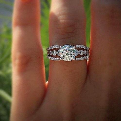 Women's 925 Sterling Silver Cut Round White Sapphire Diamond Ring