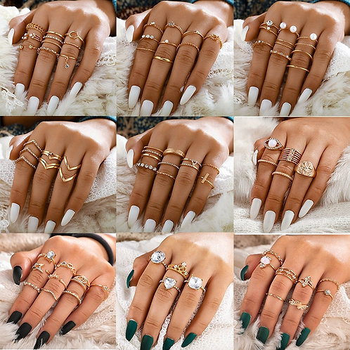 Crystal Sun Pearl Rings Set for Women