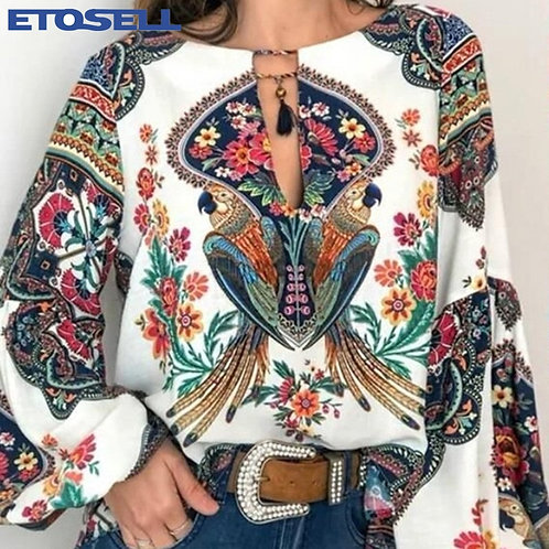 S-5xl Women Clothing Blouse Shirt Floral Print Tops Ladies  Blusa  Plus Size