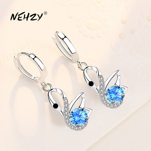 925 Sterling Silver 2021 New  Quality Swan Earrings Blue Crystal Zircon Earrings