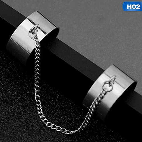 2 Connecting Finger Ring Punk  Finger Opening Rings for Women Men Jewelry