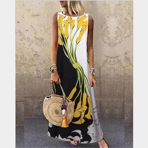 Sundress Loose Sleeveless Printed Long Maxi Dress