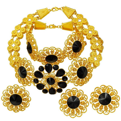 Luxury Italy Gold Jewelry Sets Necklace Earrings for Women Wedding Jewelry