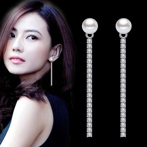925 Sterling Fashion Earrings Retro Long Cubic Zirconia Creative Pop Earrings