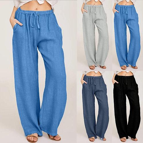 Pants Plus Size 3xl Loose Drawstring Elastic Waist Long Wide Leg Trousers