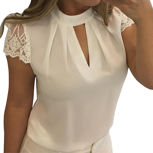 5XL Plus Size Blouse Women Sexy Chiffon White Shirt  Hollow Top Blouse Shirts