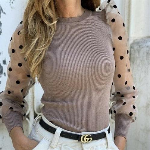 Knitted Polka Dot Puff Long Sleeve Blouse Mesh  Elegant Ladies Slim Tops Femme