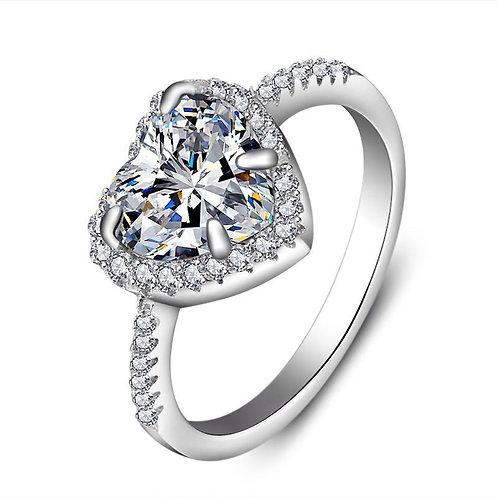 Diamond Heart-Shaped Engagement Proposal Diamond Ring