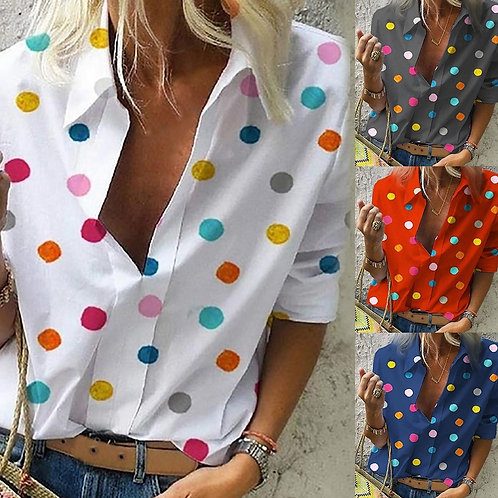 Office Lady Dot Print Blouse Tops Women Long Sleeve and  v Neck Slim Shirts