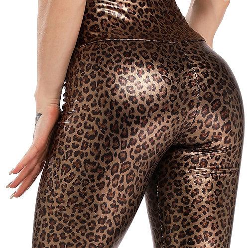 Elastic High Waist Hip Leggings Jegging Casual Skinny Pencil Pants Leopard