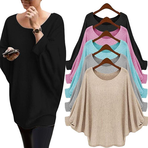 Batwing Long Sleeve O Neck Sweater Loose Solid Color Casual Oversize Pullover
