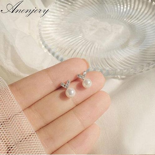 925 Sterling Silver Cut Earrings for Women Student Micro Zircon Love