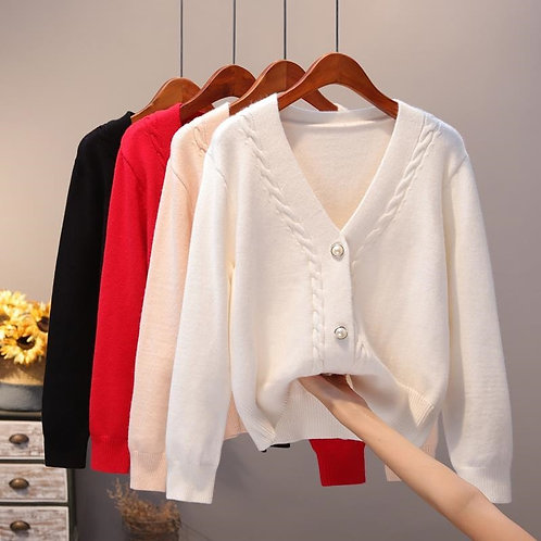 Slim Ladies Knitted Sweater Female Casual V-Neck Sweaters Pull Femme Tops