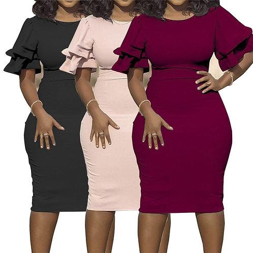 Large Size XL-5XL Sudress  Women's Dress O-Neck  Sleeve Slim Party Short Dress