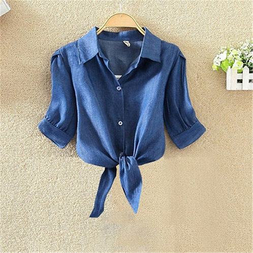 Navy Blue Shirts Women Knot Front Crop Tops and Blouses Button Summer Blouse