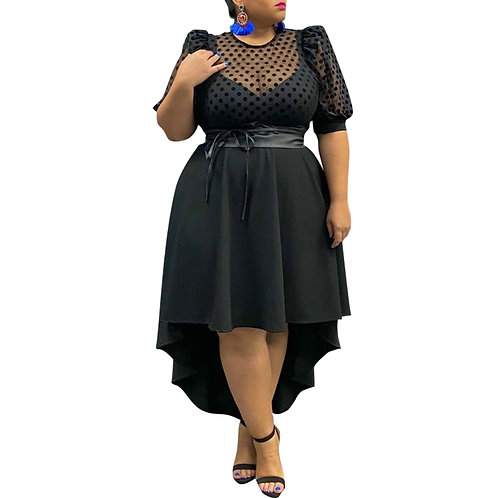 Poka Dot Printed Puff Sleeve Dresses With Sashes