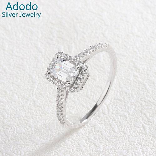 Jewellery White Zircon Stones 925 Sterling Silver Jewelry Women Diamond Ring