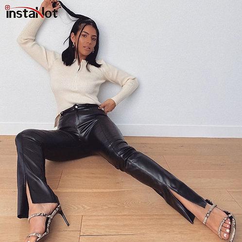 InstaHot Women Faux Leather Pant Trouser Split Flare Pants Black High