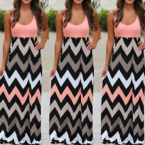 &35 Women 2020 Striped Summer Maxi Dress Long Boho Dress Lady Plus Size Off